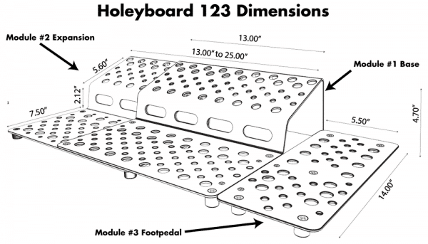 Holeyboard 123 Complete Dimensions